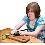 Photo of someone cutting a cucumber